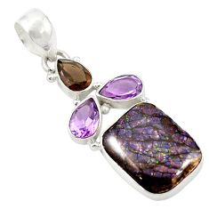 Multi color dichroic glass smoky topaz 925 sterling silver pendant d26271