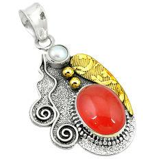 an (carnelian) 925 silver two tone pendant d2628