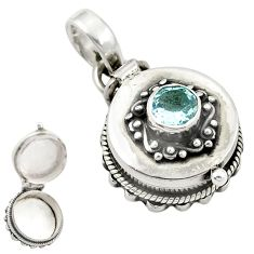 Natural blue topaz 925 sterling silver poison box pendant jewelry d26280