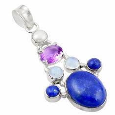 Natural blue lapis lazuli moonstone 925 sterling silver pendant d26296