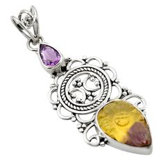 Multi color ametrine (lab) amethyst 925 sterling silver pendant d26301