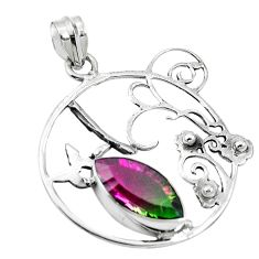 Watermelon tourmaline (lab) 925 sterling silver pendant jewelry d26405