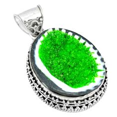 Clearance Sale- Natural green geode druzy 925 sterling silver pendant jewelry d26408