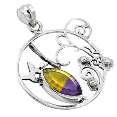 925 sterling silver multi color ametrine (lab) pendant jewelry d26409