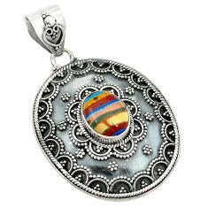 Clearance Sale- Natural multi color rainbow calsilica 925 sterling silver pendant d2641
