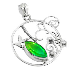Clearance Sale- Green tourmaline (lab) 925 sterling silver pendant jewelry d26410