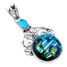 Clearance Sale- Multi color dichroic glass 925 sterling silver pendant jewelry d26415