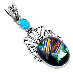 Multi color dichroic glass 925 sterling silver pendant jewelry d26416