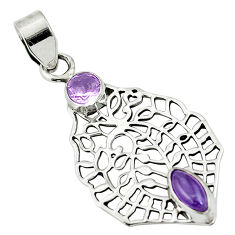 Clearance Sale- Natural purple amethyst 925 sterling silver pendant jewelry d26426