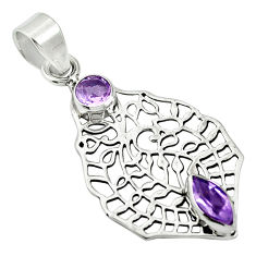 Clearance Sale- Natural purple amethyst 925 sterling silver pendant jewelry d26429