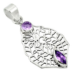 Clearance Sale- Natural purple amethyst 925 sterling silver pendant jewelry d26434