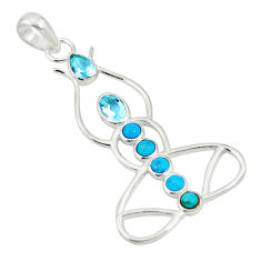 Clearance Sale- Yogi natural blue topaz turquoise 925 sterling silver pendant jewelry d26437