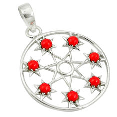 925 sterling silver red coral round shape pendant jewelry d26440