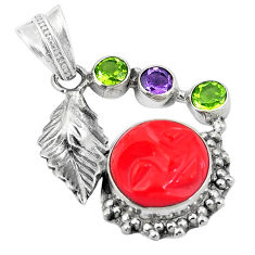 925 sterling silver red coral purple amethyst pendant jewelry d26444