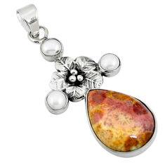 Yellow fossil coral (agatized) petoskey stone 925 silver flower pendant d26469