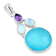 Clearance Sale- 925 sterling silver natural aqua chalcedony amethyst pendant jewelry d26480