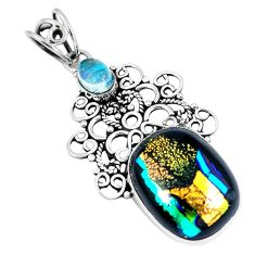925 sterling silver multi color dichroic glass pendant jewelry d26494
