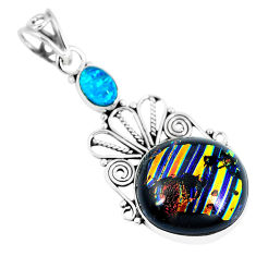 Clearance Sale- Multi color dichroic glass 925 sterling silver pendant jewelry d26502