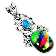 Multi color dichroic glass 925 sterling silver pendant jewelry d26510
