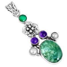 Clearance Sale- 925 silver natural green moss agate chalcedony pearl flower pendant d26511