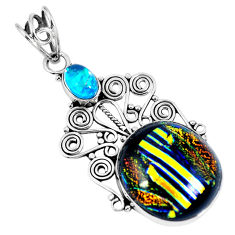 Clearance Sale- Multi color dichroic glass 925 sterling silver pendant jewelry d26512