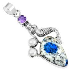 Clearance Sale- Natural k2 blue (azurite in quartz) 925 silver fairy mermaid pendant d26515