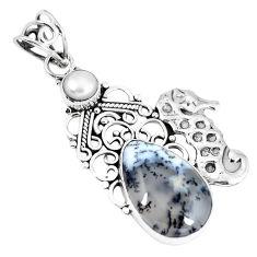 Clearance Sale- Natural white dendrite opal (merlinite) 925 silver seahorse pendant d26519