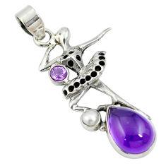 Clearance Sale- Natural purple amethyst 925 silver ballet dance charm pendant d26522