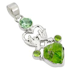 Clearance Sale- Natural green peridot rough 925 silver love birds pendant d26526