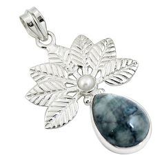 Clearance Sale- Natural black vivianite pearl 925 sterling silver pendant jewelry d26531