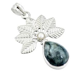 Clearance Sale- Natural black vivianite white pearl 925 sterling silver pendant d26532
