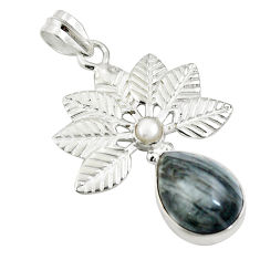 Clearance Sale- Natural black vivianite white pearl 925 sterling silver pendant d26535