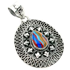 Clearance Sale- Natural multi color rainbow calsilica 925 sterling silver pendant d2654