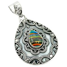 Clearance Sale- Natural multi color rainbow calsilica 925 sterling silver pendant d2655