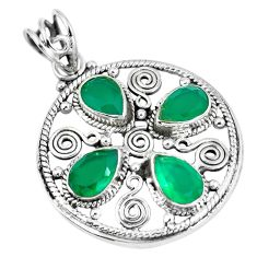 Natural green chalcedony 925 sterling silver pendant jewelry d26583
