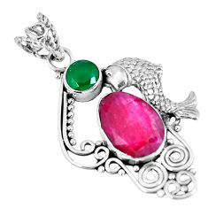 Clearance Sale- Natural red ruby chalcedony 925 sterling silver pendant jewelry d26599
