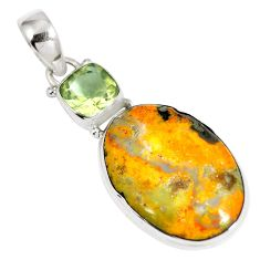 Clearance Sale- Natural yellow bumble bee australian jasper 925 silver pendant d26603