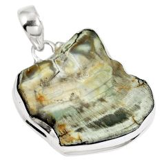 925 sterling silver natural brown petrified palm wood fancy pendant d26607
