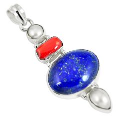Clearance Sale- Natural blue lapis lazuli coral pearl 925 sterling silver pendant d26608