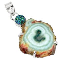 Clearance Sale- Natural white solar druzy druzy 925 sterling silver pendant d26613