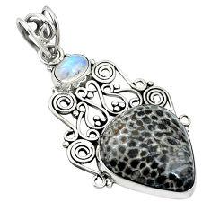 Natural black stingray coral from alaska 925 silver pendant d26639