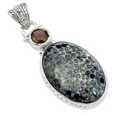 Clearance Sale- Natural black stingray coral from alaska 925 silver pendant d26661