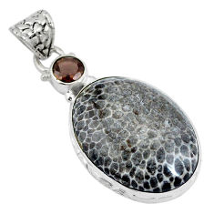 Clearance Sale- Natural black stingray coral from alaska 925 silver pendant d26662