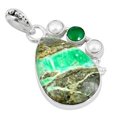 Natural green variscite chalcedony 925 sterling silver pendant d26669