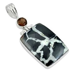 Natural black septarian gonads smoky topaz 925 silver pendant d26679