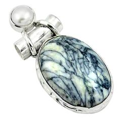 Natural white pinolith pearl 925 sterling silver pendant jewelry d26682