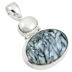 925 sterling silver natural white pinolith oval pearl pendant jewelry d26684