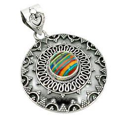 Clearance Sale- lor rainbow calsilica 925 sterling silver pendant d2669