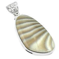 Natural grey striped flint ohio 925 sterling silver pendant d26722
