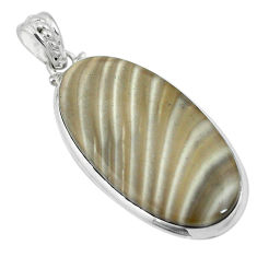 Clearance Sale- Natural grey striped flint ohio 925 sterling silver pendant d26726